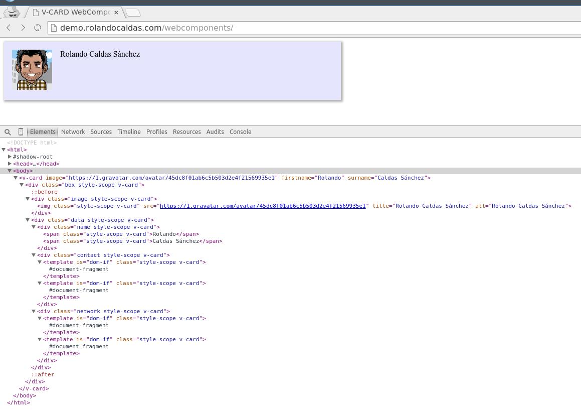 Y nuestros webcomponents ya no mostrarán código de más