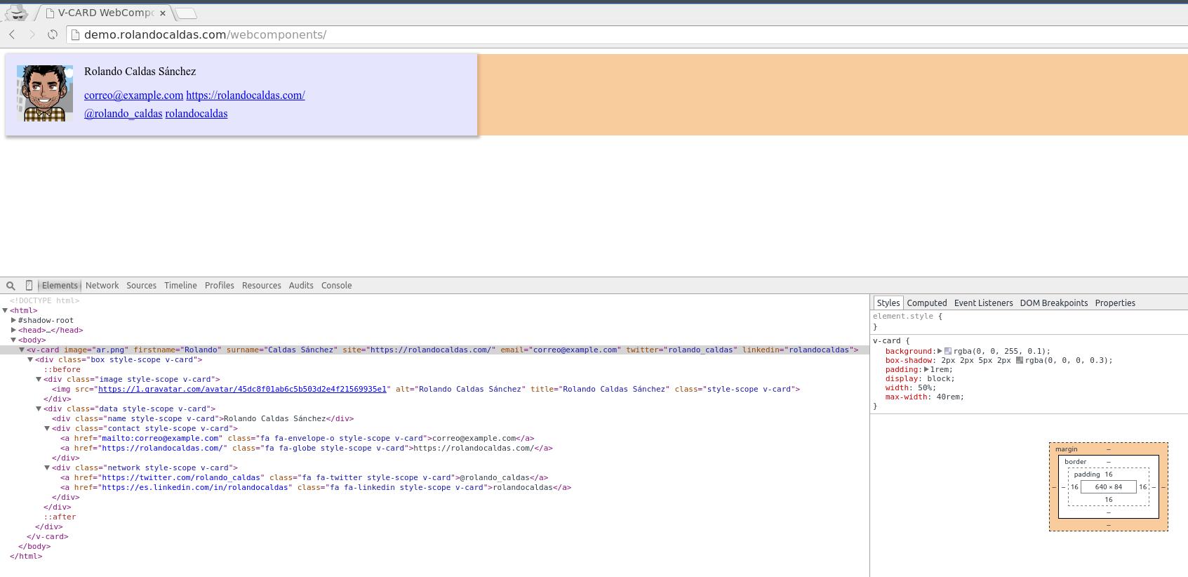 Nuestro webcomponent v-card con estilo!