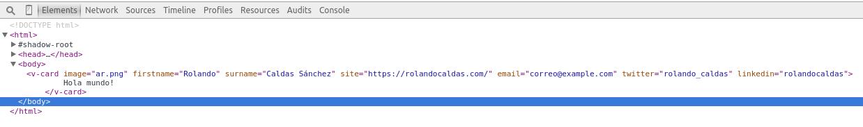 Lo que carga el navegador con nuestro webcomponents